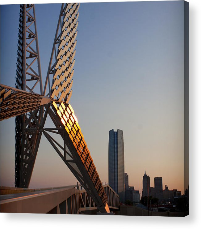Sky Bridge Acrylic Print featuring the photograph Okc Sky Bridge by Tom Parash