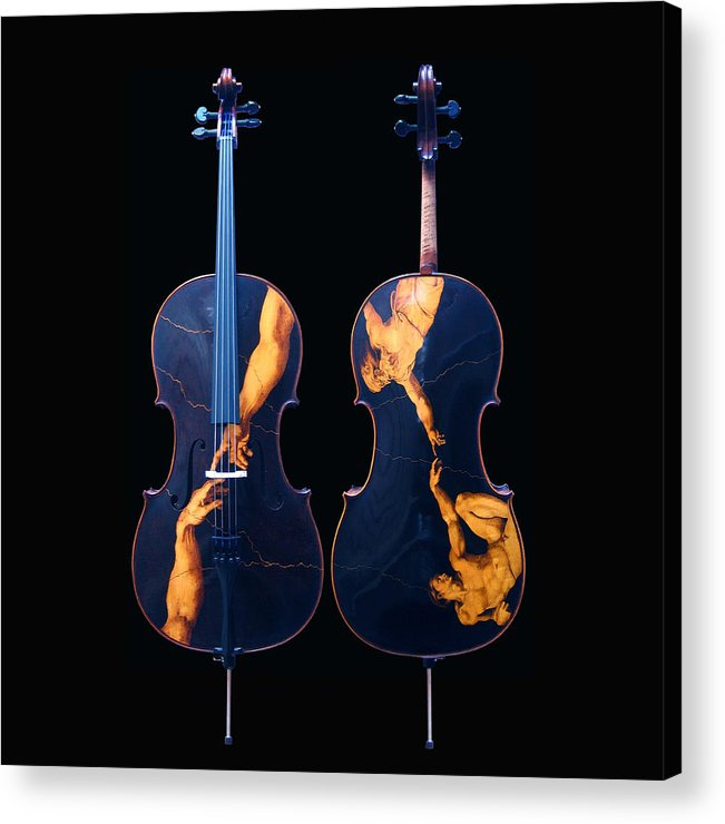 Dino Muradian Acrylic Print featuring the pyrography Custom Gliga Cello by Dino Muradian