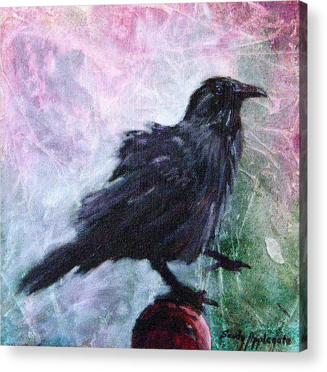 Raven Acrylic Print featuring the painting All Undaunted by Sandy Applegate