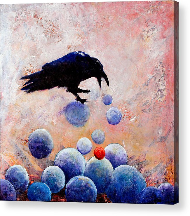 Raven Acrylic Print featuring the painting Foot-falls Tinkled by Sandy Applegate