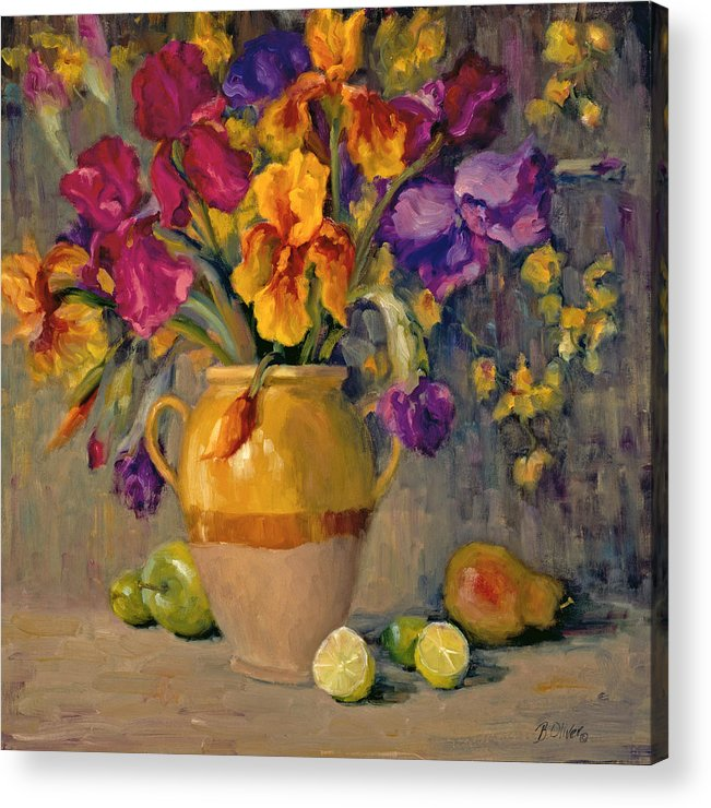 Still Life Acrylic Print featuring the painting Iris Rhapsody by Bunny Oliver