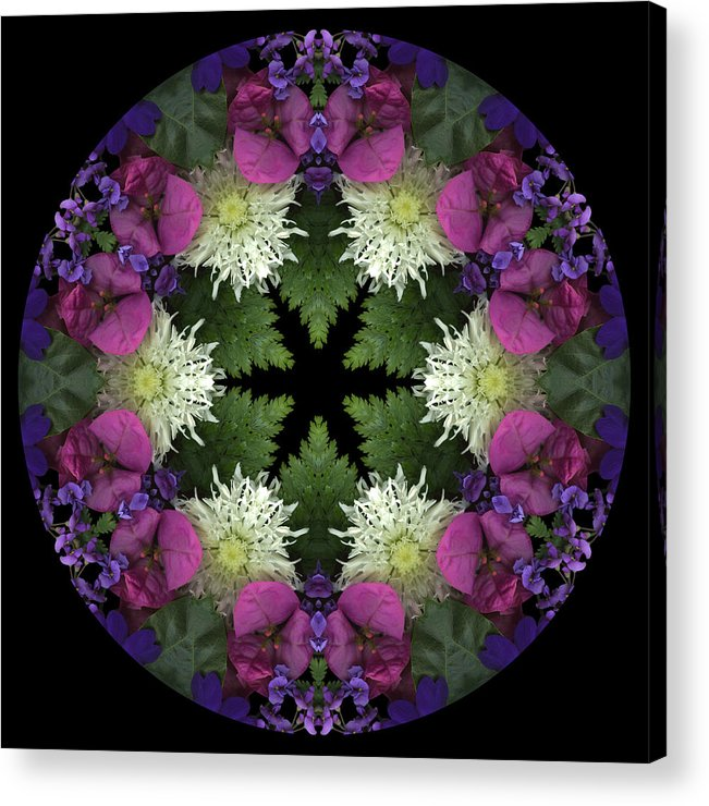 Mandala; Floral; Botanical; Scanner Photography; Scanography; Magenta; Pink; Green; Leaves; Acrylic Print featuring the photograph Mandala 3 by Marsha Tudor
