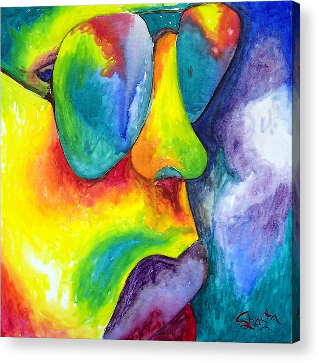 Vivid Contemporary Abstract Portrait Acrylic Print featuring the painting The Rock Star by Shasta Miller