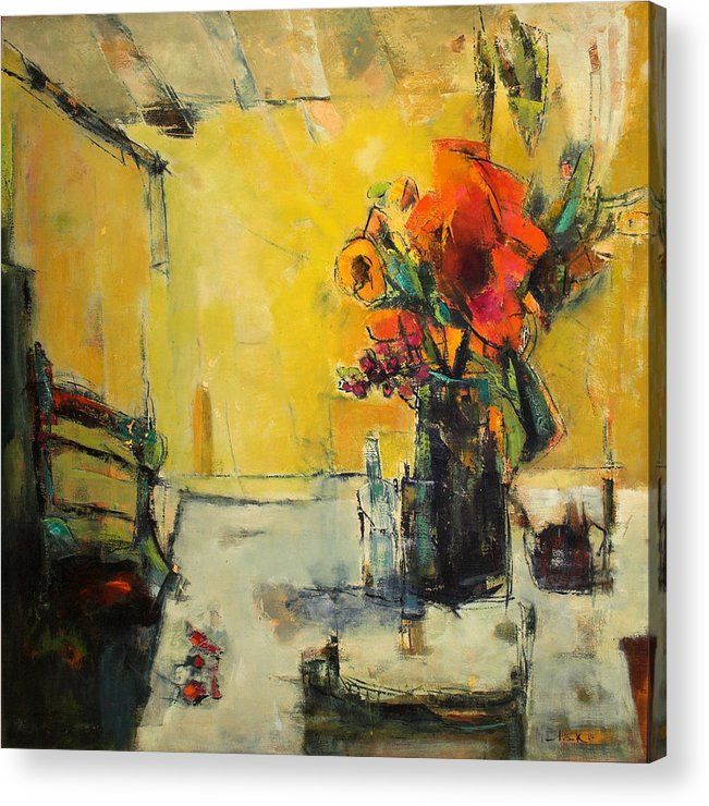 Semi Abstract Floral Acrylic Print featuring the painting The Yellow Room by Blake Originals - Marjorie and Beverly