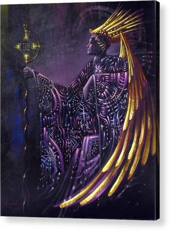 Oil Acrylic Print featuring the painting Shielded By Ineffable Names Thus I Rule by Stephen Lucas
