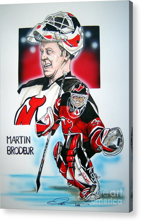 Nhl Acrylic Print featuring the painting Martin Brodeur by Dave Olsen