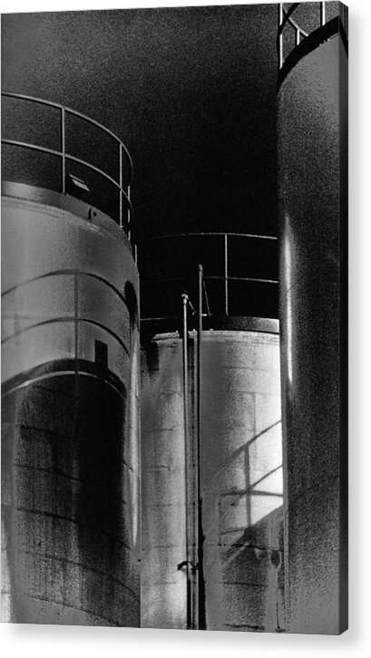 Black And White Acrylic Print featuring the photograph Oil Tanks by Mike Vines