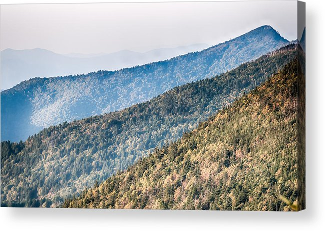 Sunset Acrylic Print featuring the photograph The Simple Layers Of The Smokies At Sunset - Smoky Mountain Nat. by Alex Grichenko