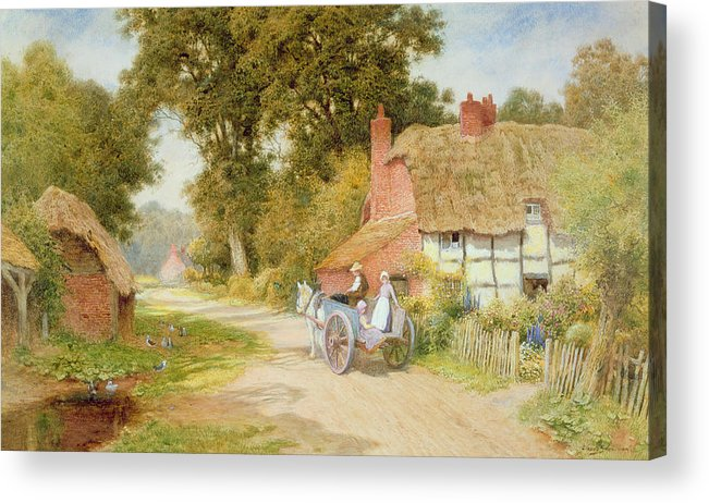 Horse And Cart; Thatched Cottage; Thatch; Half-timbered; Country Lane; Rural; Duck Pond; Ducks; Victorian; Countryside Acrylic Print featuring the painting A Warwickshire Lane by Arthur Claude Strachan