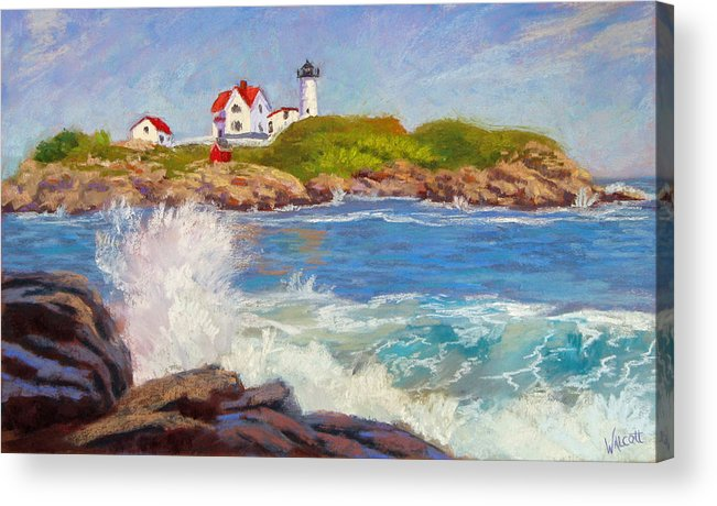 Lighthouse Acrylic Print featuring the painting Crashing At Nubble Light by Jason Walcott