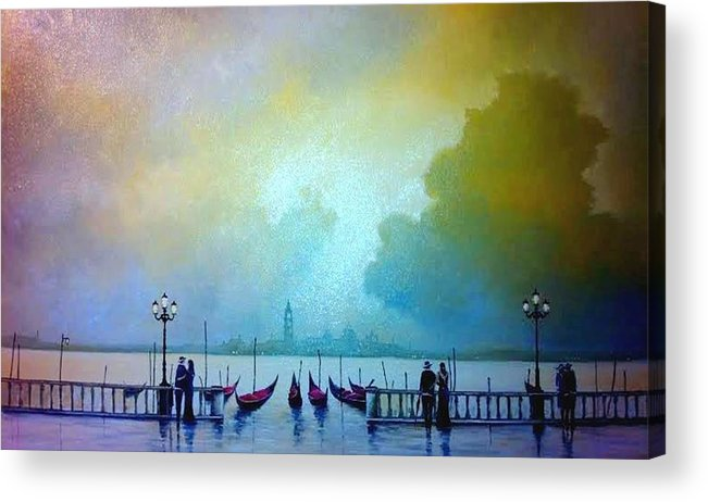 Oil On Panel Depicting The Romantic City Of Venice Acrylic Print featuring the painting Evening Romance - Venice by Tony Gittins