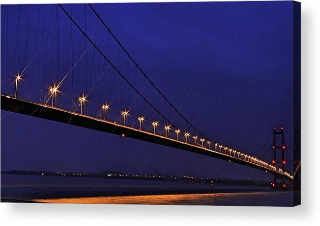Night Acrylic Print featuring the photograph Humber Bridge by David Borrill