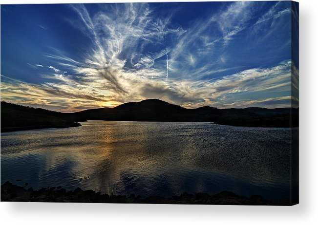 Wichita Mountains Acrylic Print featuring the photograph Lake Sunset In The Wichita Mountains by Todd Aaron