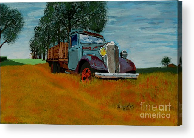Truck Acrylic Print featuring the painting Out To Pasture by Anthony Dunphy