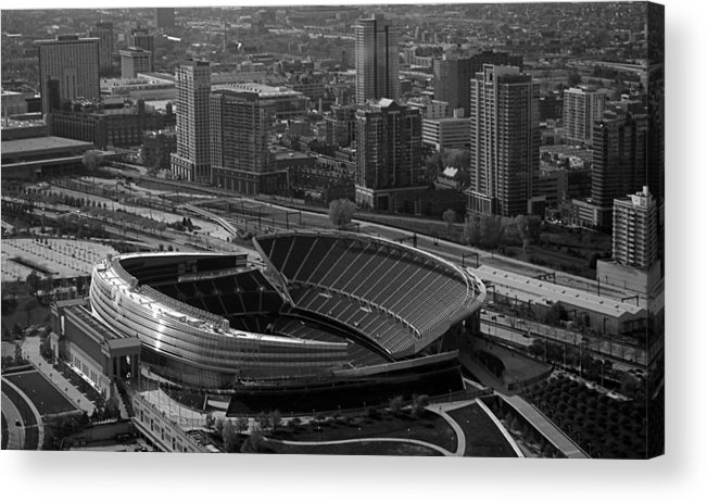 Chicago Acrylic Print featuring the photograph Soldier Field Chicago Sports 05 Black And White by Thomas Woolworth