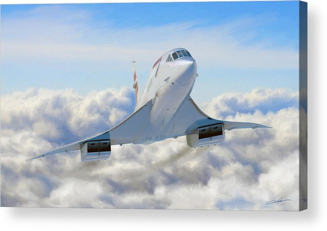 Concorde Acrylic Print featuring the digital art Speeding Above The Clouds by Dale Jackson