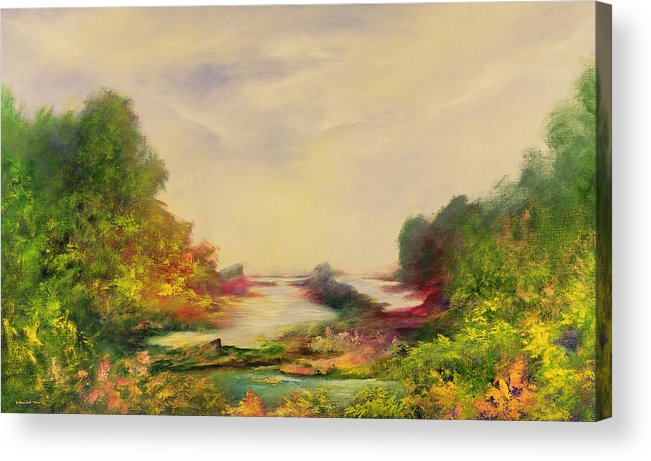 Landscape; Mystical; Dawn Acrylic Print featuring the painting Summer Joy by Hannibal Mane