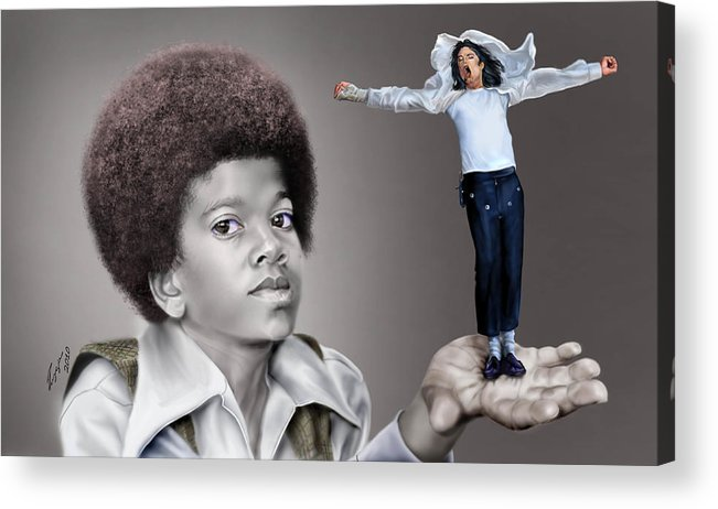 Young Michael Jackson Acrylic Print featuring the painting The Best Of Me - Handle With Care - Michael Jacksons by Reggie Duffie