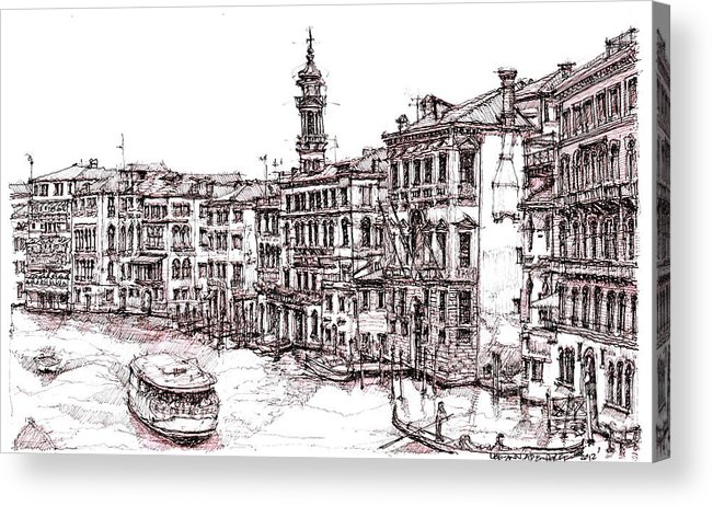 Venice Acrylic Print featuring the drawing Venice In Pen And Ink by Adendorff Design