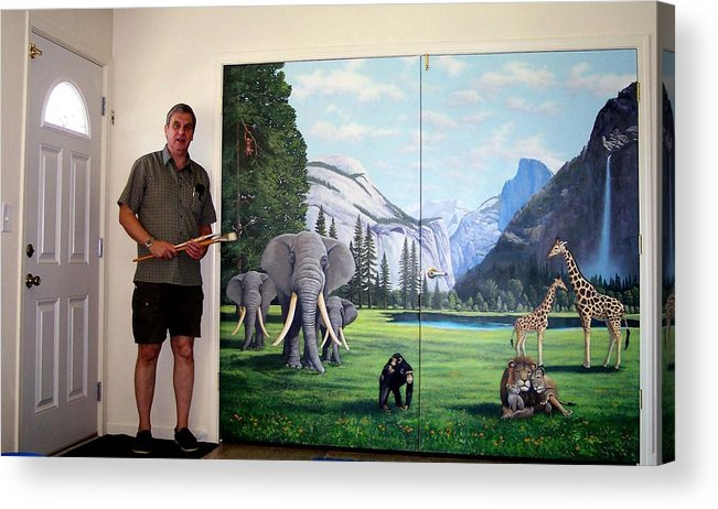 Mural Acrylic Print featuring the painting Yosemite Dreams Mural On Doors by Frank Wilson