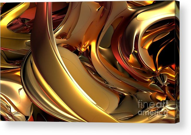 Digital Art Acrylic Print featuring the digital art Fractal - Golden Metal by Bernard MICHEL