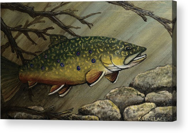 Fish Acrylic Print featuring the painting October Glory by Kathy Lovelace