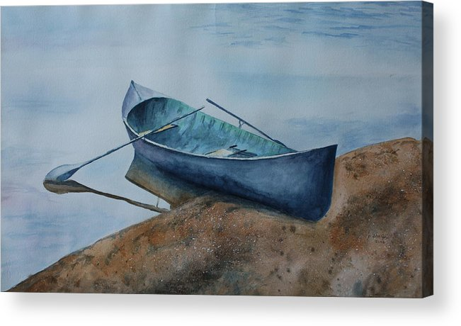 Canoe Acrylic Print featuring the painting Solitude by Patsy Sharpe
