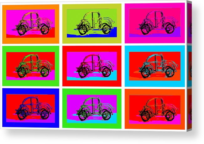 Art Acrylic Print featuring the pyrography Vw Beatle 1b by Mauro Celotti