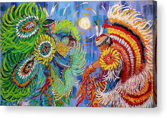Dancing Acrylic Print featuring the painting Fancy Dancers by Arnold Isbister