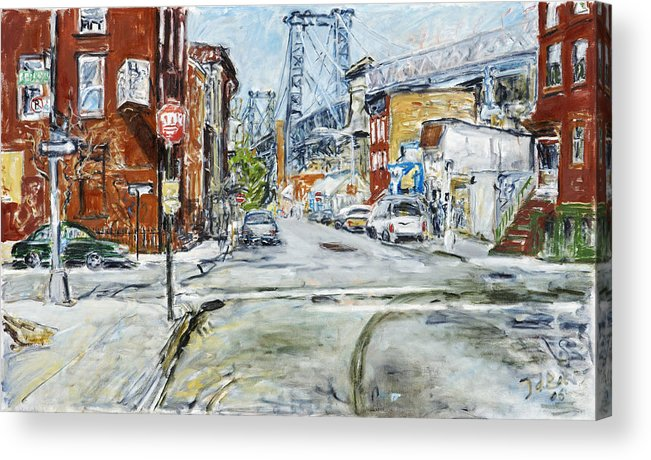 City Scape New York Bridge Road Houses Cars Acrylic Print featuring the painting Williamsburg3 by Joan De Bot