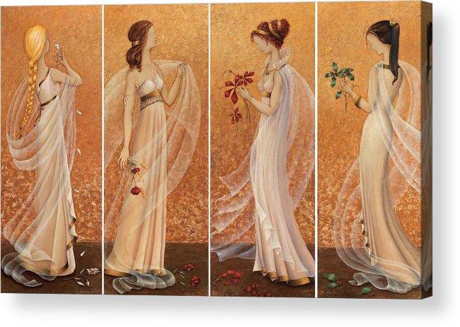 Season Acrylic Print featuring the painting 4 Seasons by Barbara Gerodimou