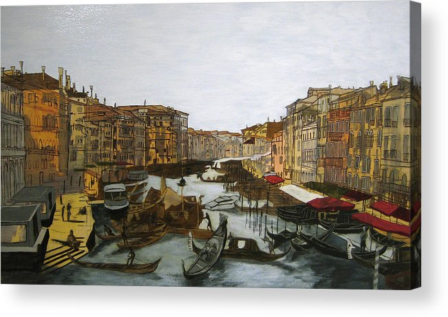 Landscape Acrylic Print featuring the painting After The Grand Canal by Hyper - Canaletto