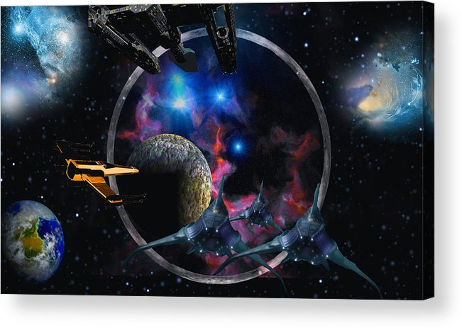 Scifi David Jackson Alienvisitor Space Acrylic Print featuring the digital art Andromeda Beckons by David Jackson