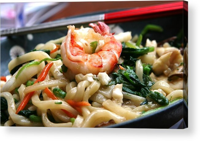 Shrimp Chopsticks Noodles Dinner Asian Acrylic Print featuring the photograph Asian Delight by Linda Russell