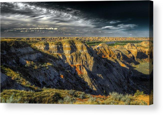 Badlands Acrylic Print featuring the photograph Badlands by Wayne Sherriff