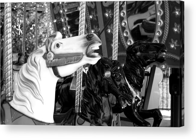Carousel Race Horse Ride Black White Acrylic Print featuring the photograph Carousel Race by William Haney