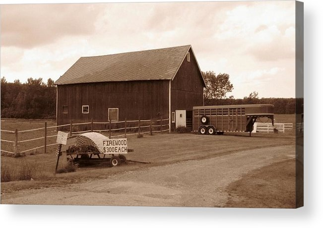 Barn Acrylic Print featuring the photograph Firewood For Sale by Rhonda Barrett
