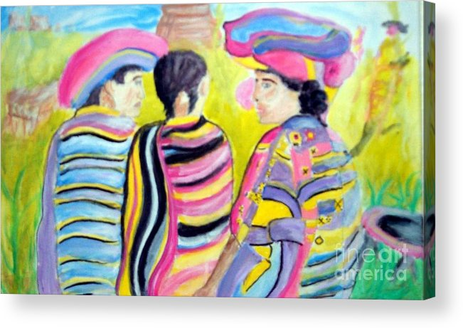 Mayan Acrylic Print featuring the painting Mayan Indians by Stanley Morganstein