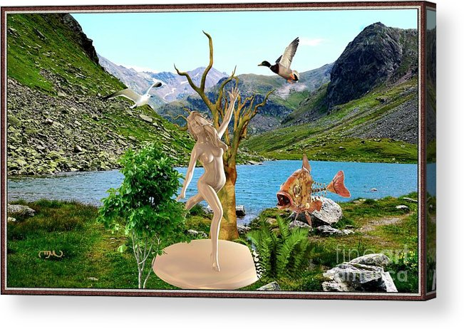 Modern Painting Acrylic Print featuring the mixed media Near The Lake26 by Pemaro
