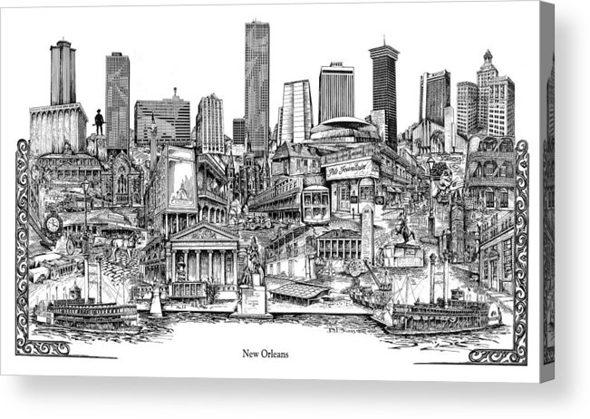 City Drawing Acrylic Print featuring the drawing New Orleans by Dennis Bivens