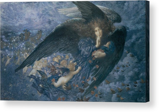Edward Robert Hughes Acrylic Print featuring the painting Night With Her Train Of Stars by Edward Robert Hughes