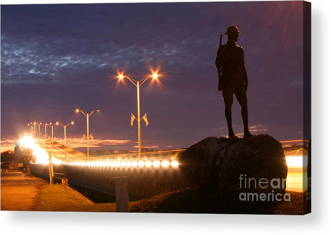 Palatka Acrylic Print featuring the photograph Palatka Memorial Bridge Doughboy by Angie Bechanan