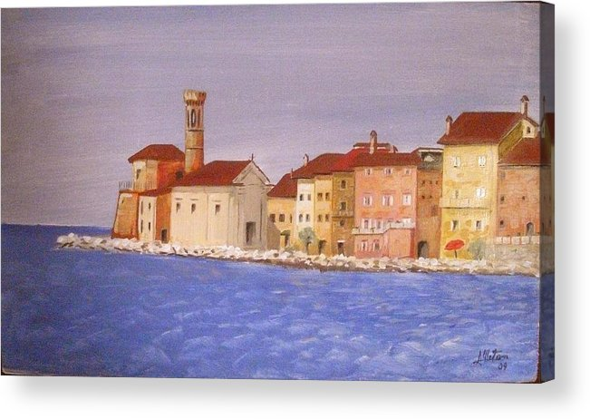 Lighthouse Acrylic Print featuring the painting Piran The Lighthouse by Anthony Meton