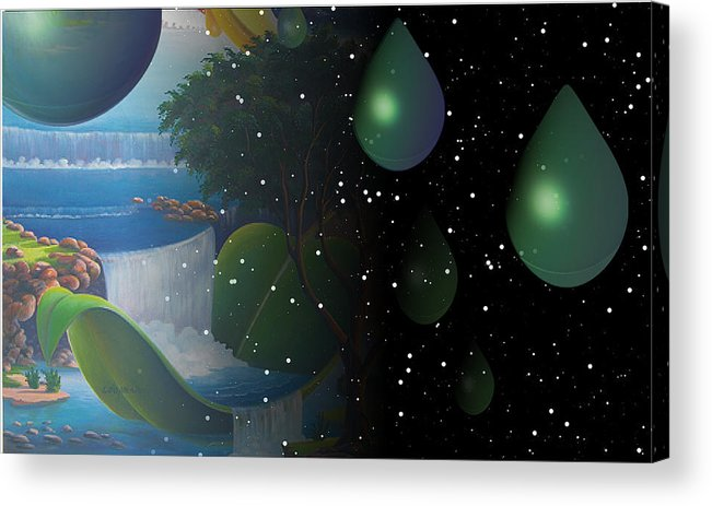 Suarrealism Acrylic Print featuring the painting Planet Water by Leomariano artist BRASIL