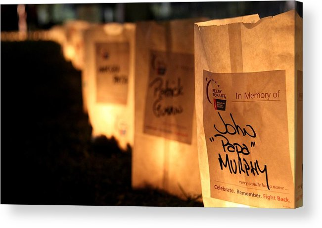 Relay For Life Acrylic Print featuring the photograph Rememberance Of Life - Luminaries At Relay by Chris Griffith