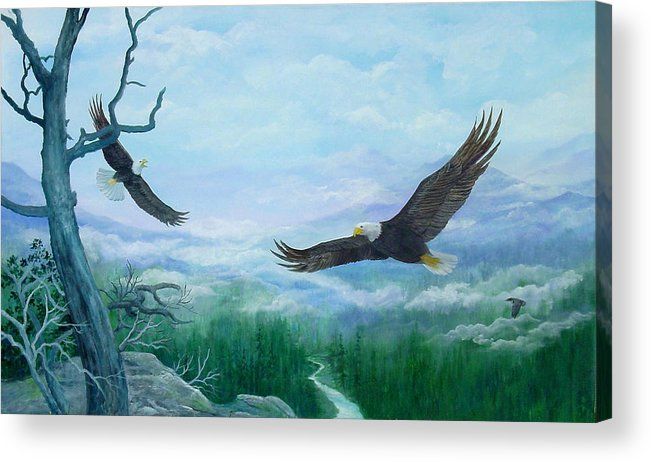 Eagles;birds;river Valley;mountains;sky; Acrylic Print featuring the painting Soaring by Lois Mountz