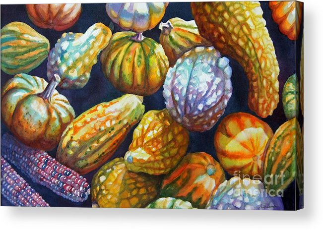 Still Life Acrylic Print featuring the painting Squash by Gail Zavala
