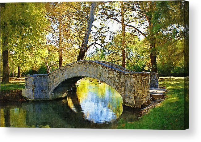 Eastwood Metropark Acrylic Print featuring the photograph Stone Bridge by D W Steinbarger