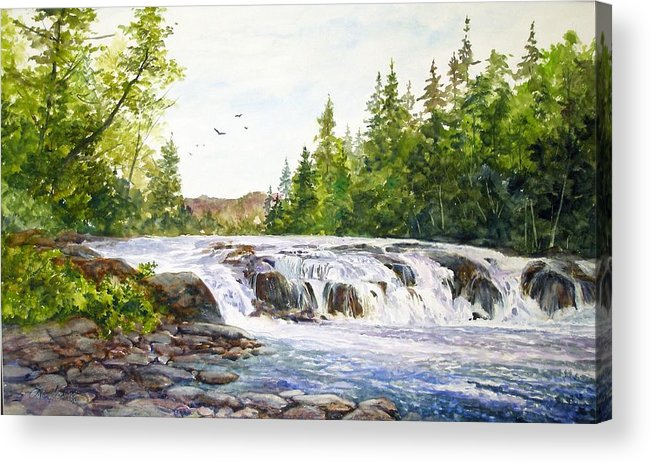 Watercolor;waterfalls;water;river;rocks;adirondacks;summer; Acrylic Print featuring the painting Summer At Buttermilk Falls by Lois Mountz