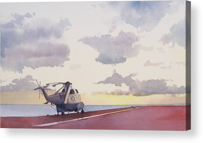 Navy Acrylic Print featuring the painting Sunrise Uss John F. Kennedy by Philip Fleischer